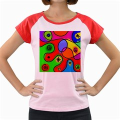 Digitally Painted Patchwork Shapes With Bold Colours Women s Cap Sleeve T Shirt
