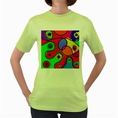 Digitally Painted Patchwork Shapes With Bold Colours Women s Green T-Shirt