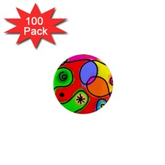 Digitally Painted Patchwork Shapes With Bold Colours 1  Mini Magnets (100 Pack)