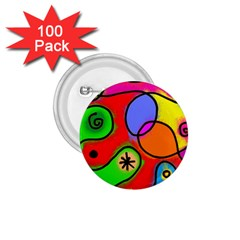 Digitally Painted Patchwork Shapes With Bold Colours 1.75  Buttons (100 pack)