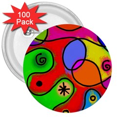 Digitally Painted Patchwork Shapes With Bold Colours 3  Buttons (100 Pack)