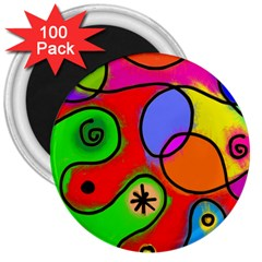 Digitally Painted Patchwork Shapes With Bold Colours 3  Magnets (100 pack)