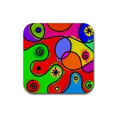 Digitally Painted Patchwork Shapes With Bold Colours Rubber Coaster (square)