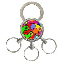 Digitally Painted Patchwork Shapes With Bold Colours 3-Ring Key Chains