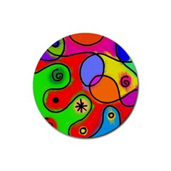 Digitally Painted Patchwork Shapes With Bold Colours Rubber Round Coaster (4 Pack)