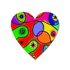 Digitally Painted Patchwork Shapes With Bold Colours Heart Magnet