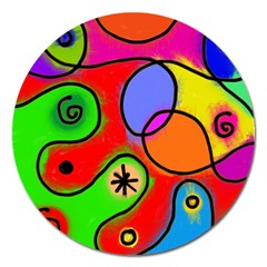 Digitally Painted Patchwork Shapes With Bold Colours Magnet 5  (Round)