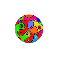 Digitally Painted Patchwork Shapes With Bold Colours Golf Ball Marker