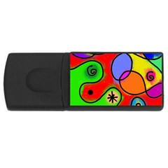 Digitally Painted Patchwork Shapes With Bold Colours USB Flash Drive Rectangular (1 GB)