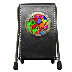 Digitally Painted Patchwork Shapes With Bold Colours Pen Holder Desk Clocks