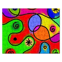 Digitally Painted Patchwork Shapes With Bold Colours Rectangular Jigsaw Puzzl