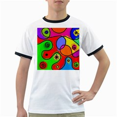 Digitally Painted Patchwork Shapes With Bold Colours Ringer T-Shirts