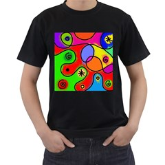 Digitally Painted Patchwork Shapes With Bold Colours Men s T Shirt (black) (two Sided)