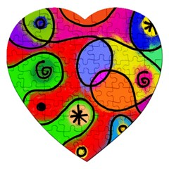 Digitally Painted Patchwork Shapes With Bold Colours Jigsaw Puzzle (Heart)