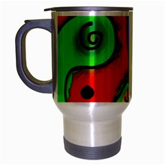 Digitally Painted Patchwork Shapes With Bold Colours Travel Mug (Silver Gray)