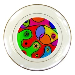 Digitally Painted Patchwork Shapes With Bold Colours Porcelain Plates