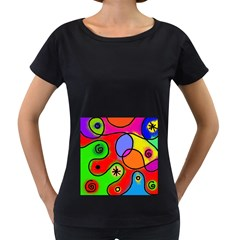 Digitally Painted Patchwork Shapes With Bold Colours Women s Loose Fit T Shirt (black)