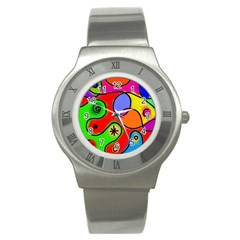 Digitally Painted Patchwork Shapes With Bold Colours Stainless Steel Watch