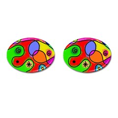 Digitally Painted Patchwork Shapes With Bold Colours Cufflinks (Oval)