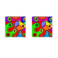 Digitally Painted Patchwork Shapes With Bold Colours Cufflinks (Square)