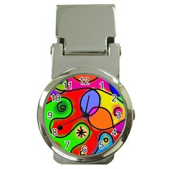 Digitally Painted Patchwork Shapes With Bold Colours Money Clip Watches
