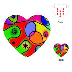 Digitally Painted Patchwork Shapes With Bold Colours Playing Cards (Heart)