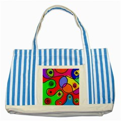 Digitally Painted Patchwork Shapes With Bold Colours Striped Blue Tote Bag