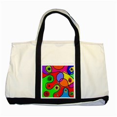 Digitally Painted Patchwork Shapes With Bold Colours Two Tone Tote Bag