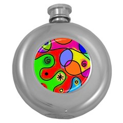 Digitally Painted Patchwork Shapes With Bold Colours Round Hip Flask (5 Oz)