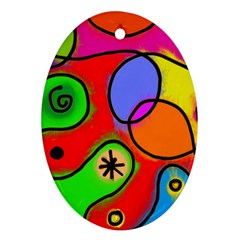 Digitally Painted Patchwork Shapes With Bold Colours Oval Ornament (two Sides)