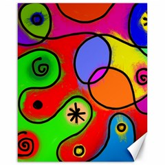 Digitally Painted Patchwork Shapes With Bold Colours Canvas 16  X 20