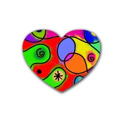 Digitally Painted Patchwork Shapes With Bold Colours Heart Coaster (4 pack)