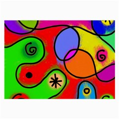 Digitally Painted Patchwork Shapes With Bold Colours Large Glasses Cloth