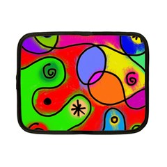 Digitally Painted Patchwork Shapes With Bold Colours Netbook Case (Small)