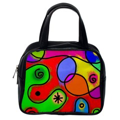 Digitally Painted Patchwork Shapes With Bold Colours Classic Handbags (One Side)