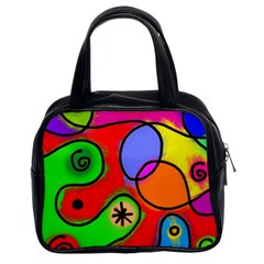 Digitally Painted Patchwork Shapes With Bold Colours Classic Handbags (2 Sides)