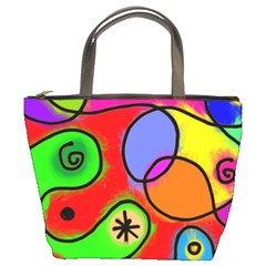 Digitally Painted Patchwork Shapes With Bold Colours Bucket Bags