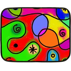 Digitally Painted Patchwork Shapes With Bold Colours Double Sided Fleece Blanket (mini)