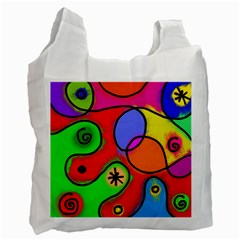 Digitally Painted Patchwork Shapes With Bold Colours Recycle Bag (One Side)