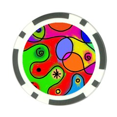 Digitally Painted Patchwork Shapes With Bold Colours Poker Chip Card Guard (10 Pack)
