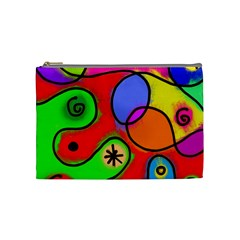 Digitally Painted Patchwork Shapes With Bold Colours Cosmetic Bag (Medium)