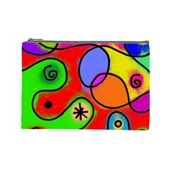Digitally Painted Patchwork Shapes With Bold Colours Cosmetic Bag (large)