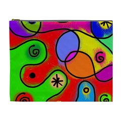 Digitally Painted Patchwork Shapes With Bold Colours Cosmetic Bag (XL)