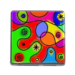 Digitally Painted Patchwork Shapes With Bold Colours Memory Card Reader (square)