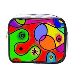 Digitally Painted Patchwork Shapes With Bold Colours Mini Toiletries Bags