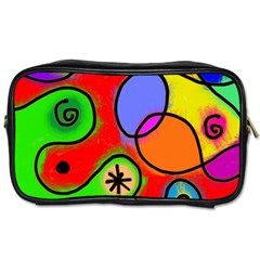 Digitally Painted Patchwork Shapes With Bold Colours Toiletries Bags 2 Side
