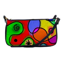 Digitally Painted Patchwork Shapes With Bold Colours Shoulder Clutch Bags