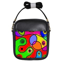 Digitally Painted Patchwork Shapes With Bold Colours Girls Sling Bags