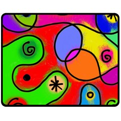 Digitally Painted Patchwork Shapes With Bold Colours Fleece Blanket (Medium)