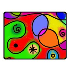 Digitally Painted Patchwork Shapes With Bold Colours Fleece Blanket (small)
